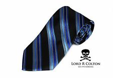 Lord R Colton Studio Tie - Black & Sapphire Blue Stripe Necktie - $95 Retail New