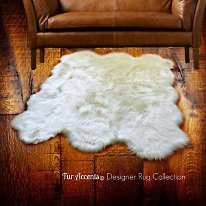 Premium Faux Fur Sheepskin Throw Rug - Plush Shag Off White -  5'x7' Pelt Shape