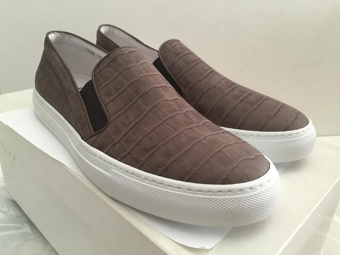 DEL TORO FAUX CROC EMBOSSED DARK BROWN LEATHER SLIP ON SNEAKERS SIZE 12