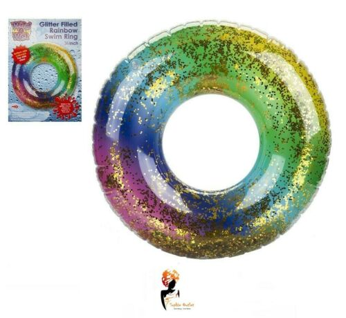 """36/"""" GIANT INFLATABLE GLITTER RAINBOW SWIMMING RING Water Float Pool Fun Beach"""