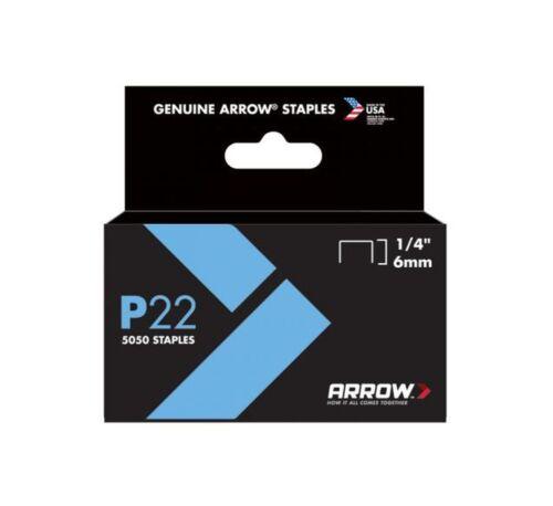 P22 Plier Type Staples 5,050//Box Arrow Fastener 224 6 Pack 1//4in