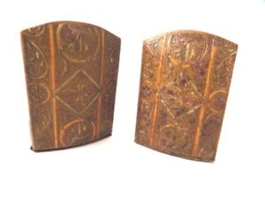 Italian Leather Florentine Bookends Simondetti Tooled 1920's Bruners Fine Arts Sale Overall Discount 50-70% Antiques Decorative Arts