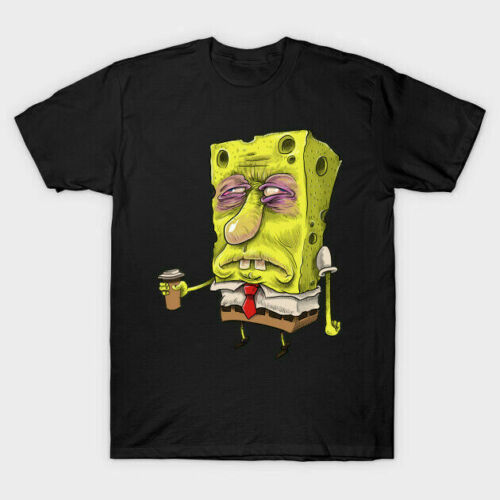 Insomnia Spongebob Give Me A Cup Of Coffee Funny Black T-Shirt S-6XL