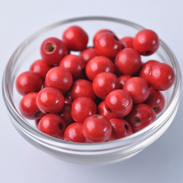 72pcs 12mm Red Round Natural Wood Loose Spacer Beads Wholesale Bulk Lot
