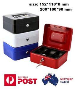 Lockable Cash Box Deposit Slot Petty cash Money Box Safe with 2 keys Portable