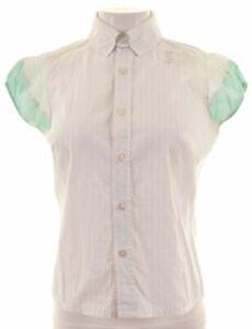 DIESEL-Womens-Shirt-Sleeveless-Size-10-Small-Green-Striped-Cotton-LU16