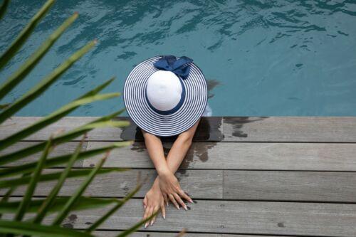 gesteifter Krempe und schleifen band blau Damen Strohhut Sommerhut mit breiter