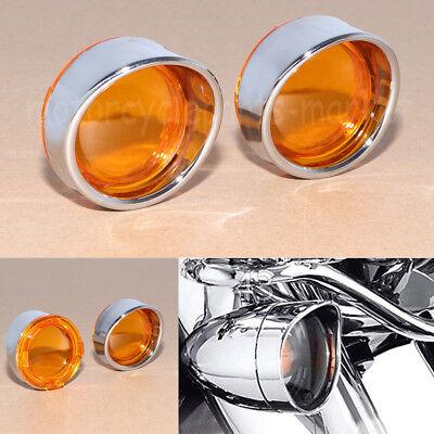 Turn Signal Bezels With Chrome Amber Mirror Lens With Visor 4 Harley Davidson
