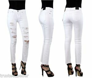 True Religion Women Cora Destroyed White H Waist Denim Jeans Slim ...