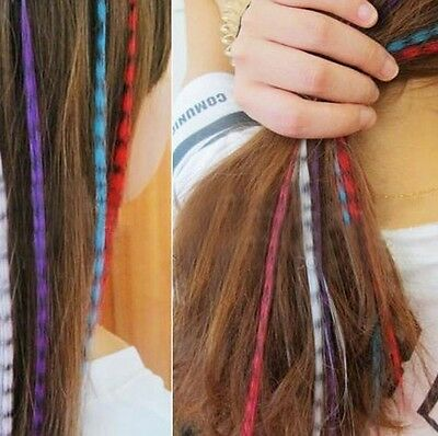 "15 ""Indian feather hairpin fluorescent color hair piece wig piece"