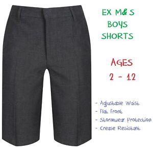 EX-M-amp-S-Boys-School-Summer-Shorts-Ages-2-12-Grey-Black-Adjustable-Waist