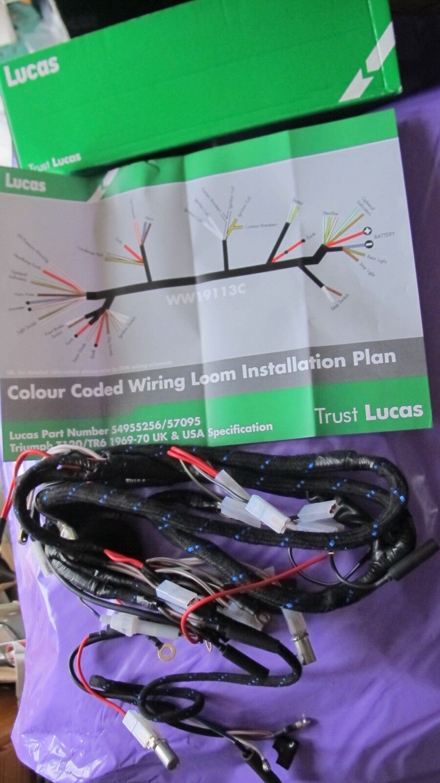 braided lucas 54955256 wiring harness triumph t100 tr6 t120 1969 70norton secured powered by verisign