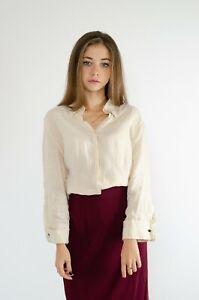 Max-Mara-Linen-Beige-Womens-Shirt-Cufflinks-Size-L-USA14