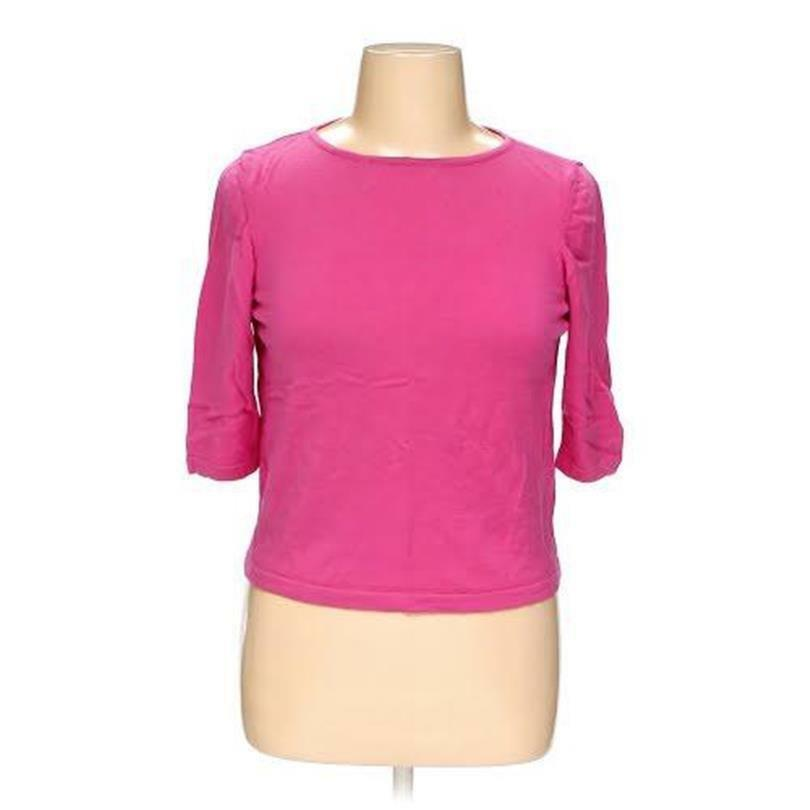 NEW SAKS FIFTH AVENUE XL PINK THE WORKS ITALY KNIT SWEATER 100% FINE MERINO WOOL