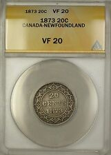 1873 Canada Newfoundland 20c Twenty Cents Silver Coin ANACS VF-20