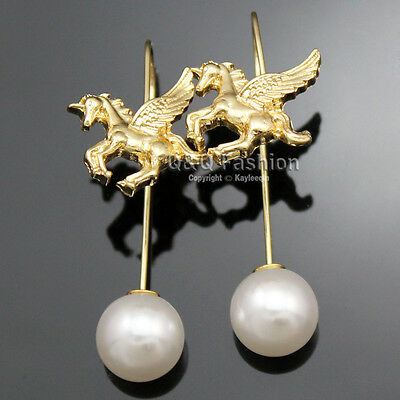 Chic Unicorn Pegasus Horse Pearl Threader Pull thru through Ear Studs Earrings