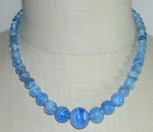 Antique-Victorian-Blue-Marbled-Swirl-Graduated-Bead-Necklace-Tube-Clasp