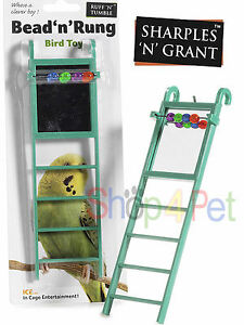 BIRD-TOY-LADDER-MIRROR-FOR-CAGE-WITH-BEADS-BUDGIE-PARAKEET-COCKATIEL-PET