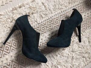 TOPSHOP-Navy-Blue-Suede-Stiletto-Shoe-Boots-Size-7-6