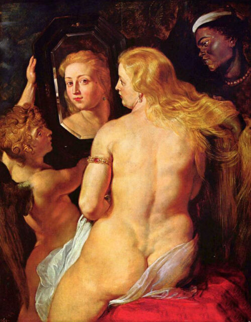 Wonderful oil painting Peter Paul Rubens  Venus at a Mirror with angel cupid 36""