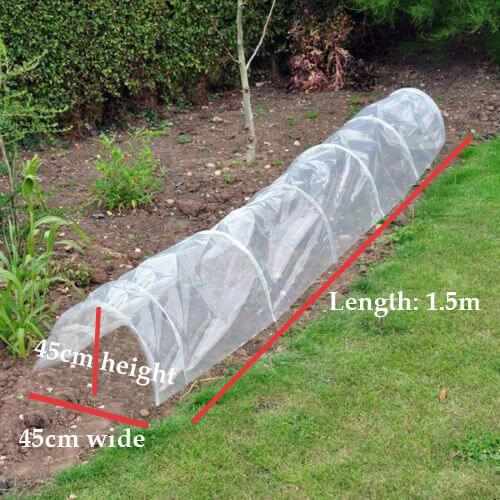 POLY TUNNEL CLOCHE MINI GREENHOUSE GARDEN GROW PROTECT PLANT 1.5M X 45cm X 42cm