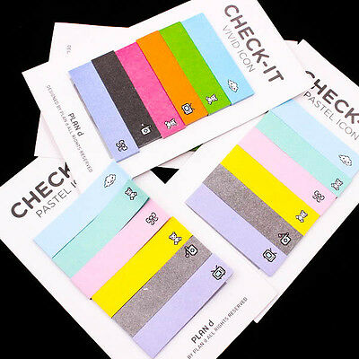 Retro Check Rainbow Sticker Maker Post-it Notes Bookmark Memo Flags Sticky A0525