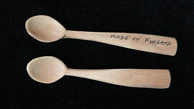 Vintage MADE IN FINLAND Small Carved WOODEN Set of 2 Little Tea Cup  SPOONS