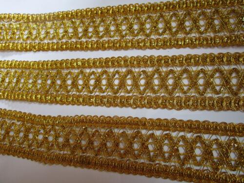 10 METER Borte Spitze Nichtelastisch Gold 4cm elegante top C172*****
