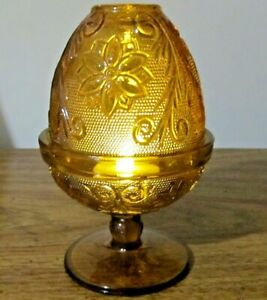 Amber-Tiara-Indiana-Glass-Sandwich-Fairy-Lamp-Votive-Candle-Holder-NWT