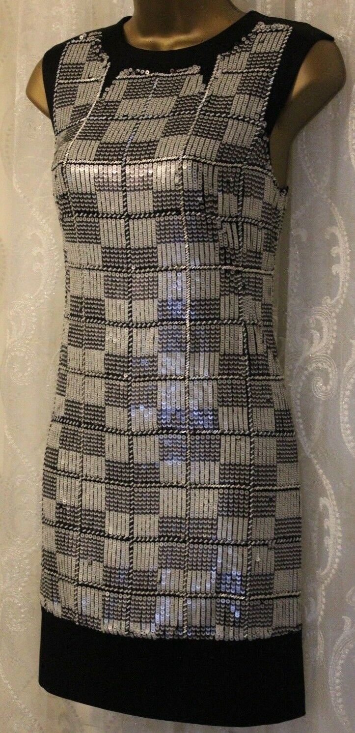 Karen Millen Check Embellished Shift Cocktail Mini Party Occasion Dress 10 38