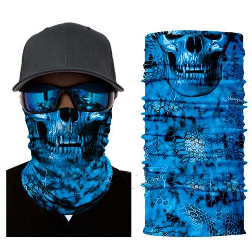 Motorcycle Blue Skull Face Shield Sun Balaclava Buff Neck Tubes Headwear Hunting