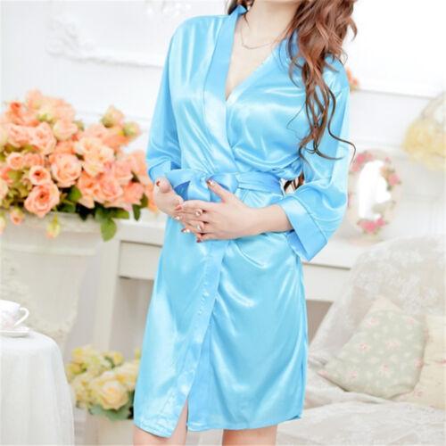 Lady Women/'s Silk Satin Sleepwear Lace Gown Bath Robe Nightwear Dress Fast HU