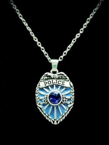 Police Necklace Blue Shield Badge Father/'s Day Gift For Police Officer Jewelry