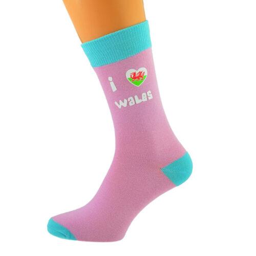 Rosa Pallido /& Turchese Calze Unisex I Love Galles Gallese Design UK Taglia 5-12 X6N611