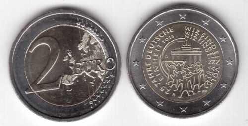 GERMANY BIMETAL 2 EURO UNC COIN 2015 YEAR 25th ANNI GERMAN UNITY