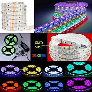 1-20M-RGB-5050-SMD-Waterproof-300-LED-Light-Strip-Flexible-IR-Remote-12V-Power