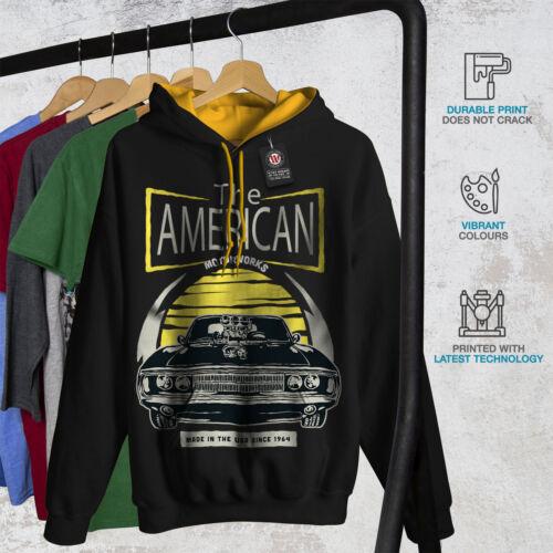 Hoodie Old gold Vintage Black Car Contrast New American Hood Men xXTRnOWq