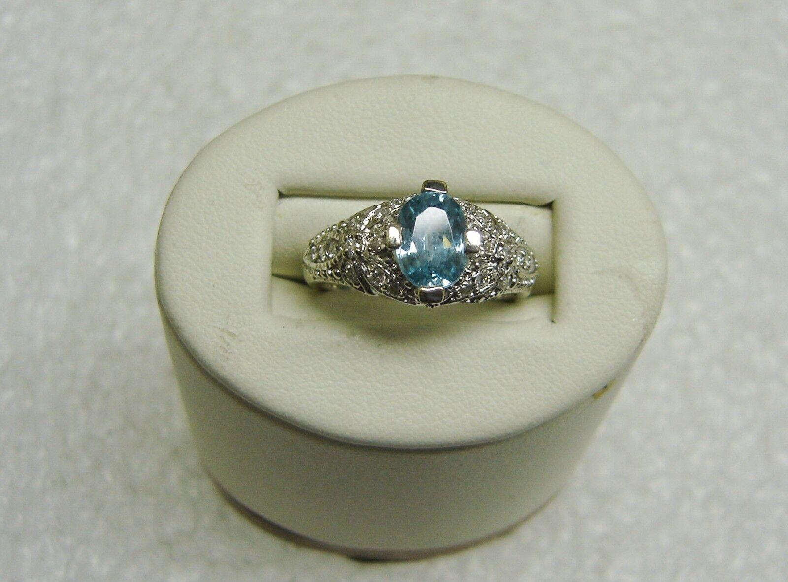 14K White gold bluee Topaz W Diamond Accents Ring Size 6 3 4-GORGEOUS    N349-A