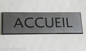 """En Herbe Plaque Gravée """"accueil"""" Signaletique épaisseur 1,6 Mm Format 50x150 Mm"""