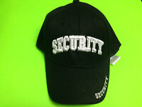 Security Black Hat / Cap W/ White Embroidered Letters And Adjustable Band