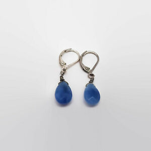 Dyed-Blue-Quartz-Faceted-Bead-Silver-Plated-Leverback-Earrings