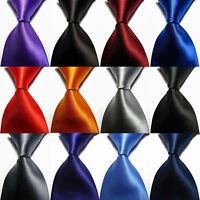 Classic Solid Plain Pure Colors Smooth Jacquard Woven Silk Men's Men Tie Necktie