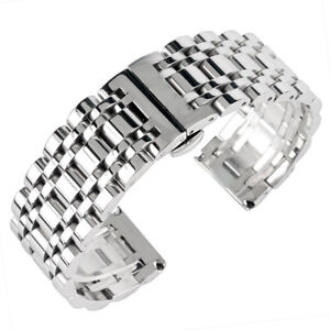 Silver-20-22-24mm-Watch-Band-Strap-Solid-Stainless-Steel-Bracelet-Watchband