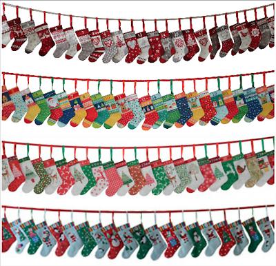 Jolly Scandi Mini Stockings Bunting Christmas Advent Calendar Panel Makower