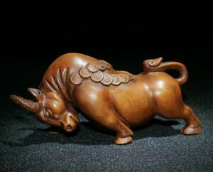 feng shui boxwood carved Lucky Wealth Animal Year Bull Oxen statue figurines cow