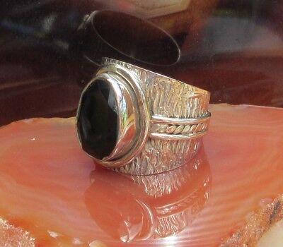 RX Ring schwarzer Onyx Stein des Steinbock Bandring Sterling Silber 925 | eBay