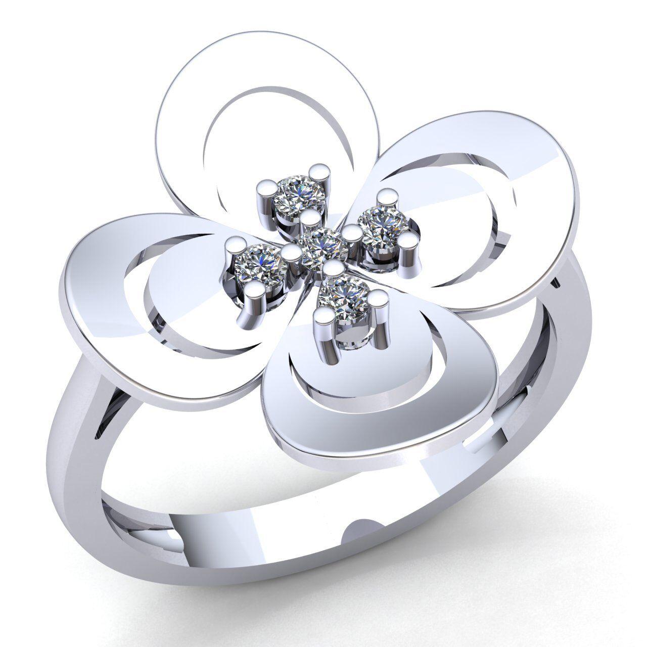 0.15carat Round Cut Diamond Ladies Flower Anniversary Engagement Ring 14K gold