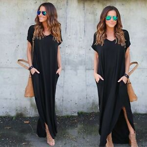 Details about BLACK Oversized Casual Short Sleeve T-Shirt Maxi Dress with Pockets Slits Kaftan