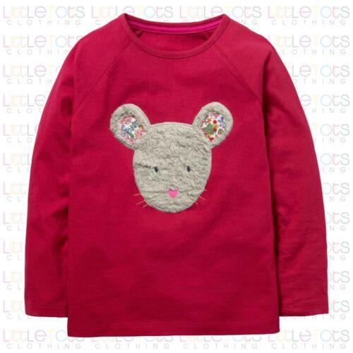 Mini Boden Animal Furry Souris Visage Appliqué T-Shirt à Manches Longues RRP £ 20 2-12yrs