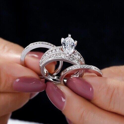 Marquise Shape Diamond 14k White gold Finish Trio Set Wedding Ring 5.10CT 925 SS